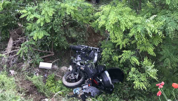 Motociklista, pad