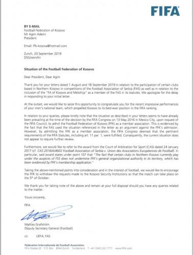 FIFA pismo FS Kosova