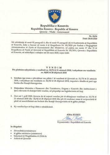 Odluka Vlade Kosova o taksi