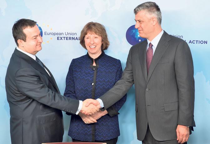 Dačić, Ešton i Tači - Briselski sporazum