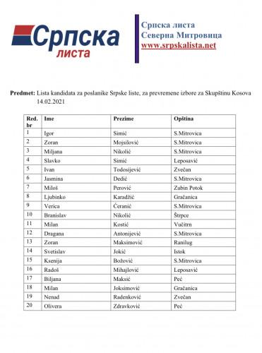Izborna lista Srpske liste