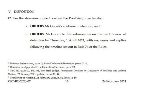 Odluka o produženju pritvora Gucatiju i Haradinaju