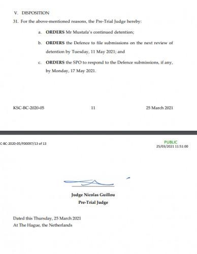 Odluka o produženju pritvora Saljihu Mustafi