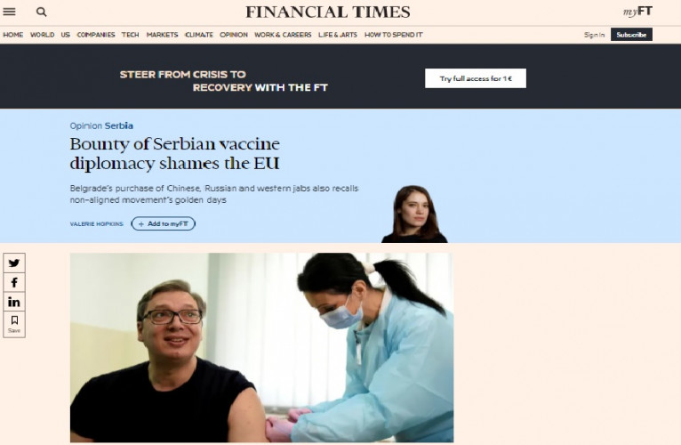 Fajnenšel tajms o Srbiji kao lideru regiona