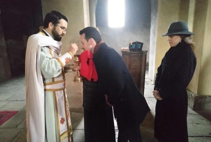 Princ Filip i princeza Danica Karađorđević u crkvi Bogorodice Ljeviške u Prizrenu