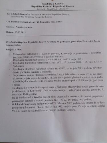 Nacrt rezolucije o Srebrnici u kosovskoj Skupštini