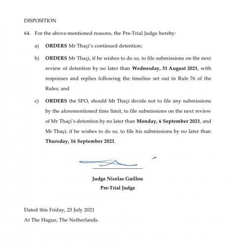 Odbijen zahtev za puštanje Tačija na slobodu