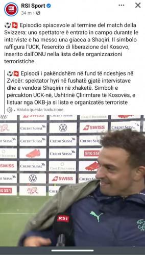 Televizija RSI sport u prilogu navela da su UN označil OVK kao terorističku organizaciju